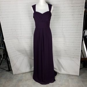 Bill Levkoff burgundy layered long gown size 10
